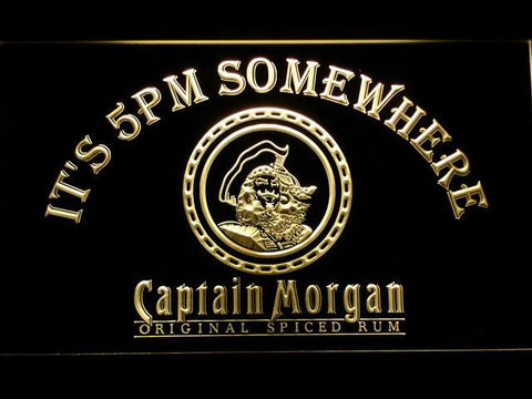 Image of Captain Morgan Original It's 5pm Somewhere LED Neon Sign - Yellow - SafeSpecial