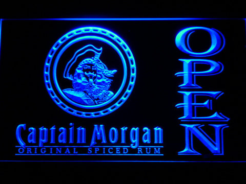 Image of Captain Morgan Original Spiced Rum Open LED Neon Sign - Blue - SafeSpecial