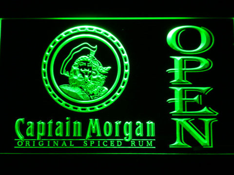 Image of Captain Morgan Original Spiced Rum Open LED Neon Sign - Green - SafeSpecial
