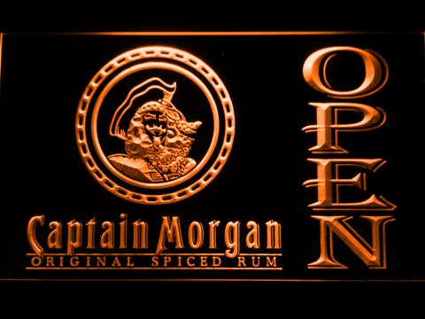 Image of Captain Morgan Original Spiced Rum Open LED Neon Sign - Orange - SafeSpecial