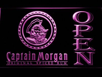 Captain Morgan Original Spiced Rum Open LED Neon Sign - Purple - SafeSpecial