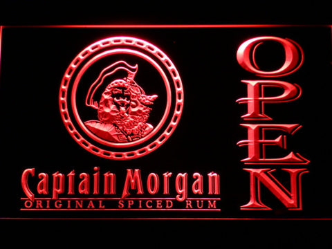 Image of Captain Morgan Original Spiced Rum Open LED Neon Sign - Red - SafeSpecial