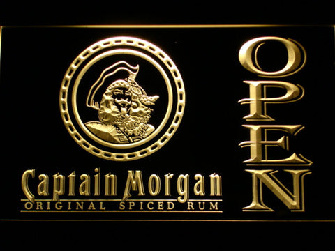 Image of Captain Morgan Original Spiced Rum Open LED Neon Sign - Yellow - SafeSpecial