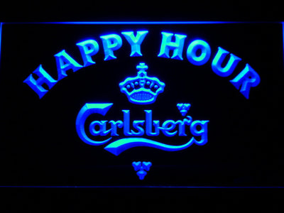 Carlsberg Happy Hour LED Neon Sign - Blue - SafeSpecial