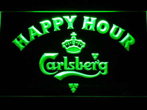 Image of Carlsberg Happy Hour LED Neon Sign - Green - SafeSpecial