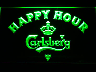 Carlsberg Happy Hour LED Neon Sign - Green - SafeSpecial