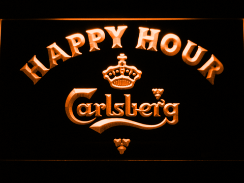 Image of Carlsberg Happy Hour LED Neon Sign - Orange - SafeSpecial