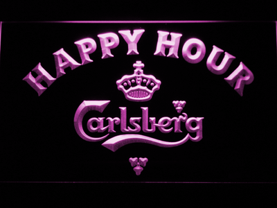 Carlsberg Happy Hour LED Neon Sign - Purple - SafeSpecial
