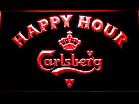 Image of Carlsberg Happy Hour LED Neon Sign - Red - SafeSpecial