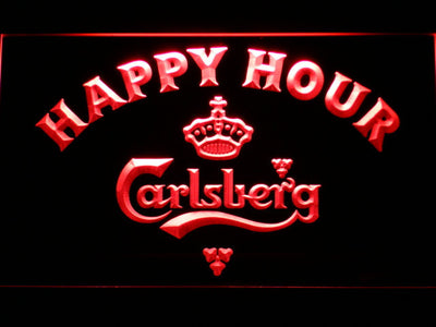 Carlsberg Happy Hour LED Neon Sign - Red - SafeSpecial