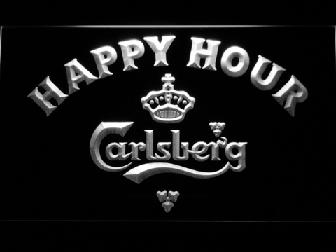 Image of Carlsberg Happy Hour LED Neon Sign - White - SafeSpecial