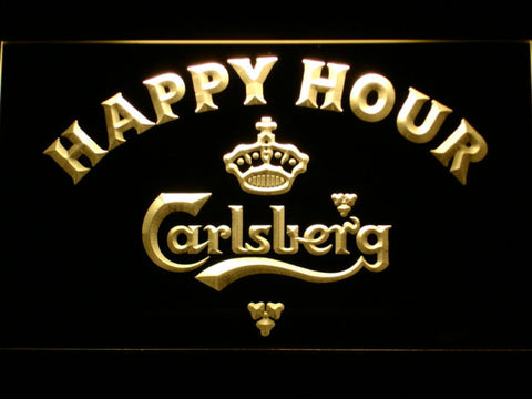 Carlsberg Happy Hour LED Neon Sign - Yellow - SafeSpecial