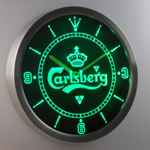 Image of Carlsberg LED Neon Wall Clock - Green - SafeSpecial
