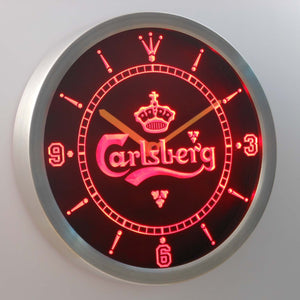 Carlsberg LED Neon Wall Clock - Red - SafeSpecial
