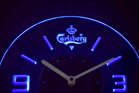Image of Carlsberg Modern LED Neon Wall Clock - Blue - SafeSpecial