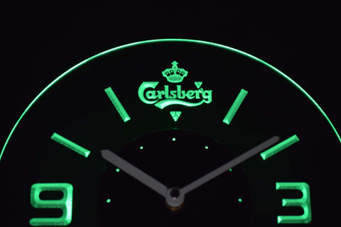 Image of Carlsberg Modern LED Neon Wall Clock - Green - SafeSpecial