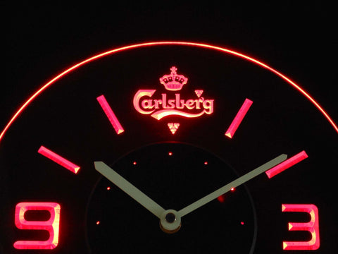 Image of Carlsberg Modern LED Neon Wall Clock - Red - SafeSpecial