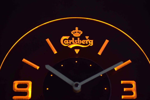 Image of Carlsberg Modern LED Neon Wall Clock - Yellow - SafeSpecial