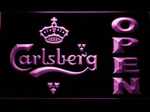 Carlsberg Open LED Neon Sign - Purple - SafeSpecial
