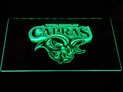 Central Queensland Capras LED Neon Sign - Green - SafeSpecial