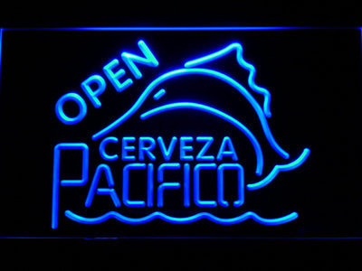 Cerveza Pacifico Open LED Neon Sign - Blue - SafeSpecial