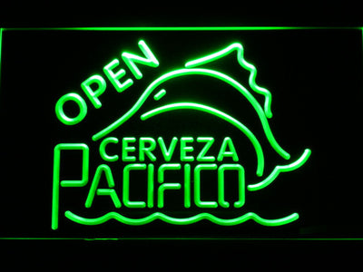 Cerveza Pacifico Open LED Neon Sign - Green - SafeSpecial