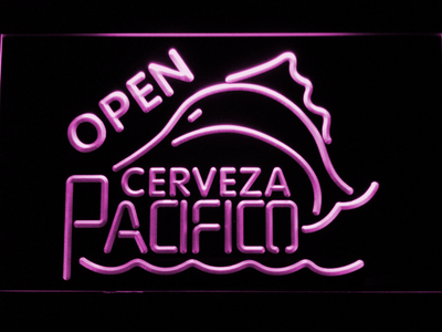 Cerveza Pacifico Open LED Neon Sign - Purple - SafeSpecial