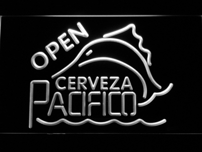 Cerveza Pacifico Open LED Neon Sign - White - SafeSpecial