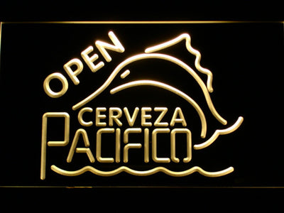 Cerveza Pacifico Open LED Neon Sign - Yellow - SafeSpecial