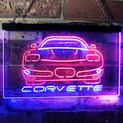 Chevrolet Corvette Neon-Like LED Sign - Dual Color - Blue and Red - SafeSpecial