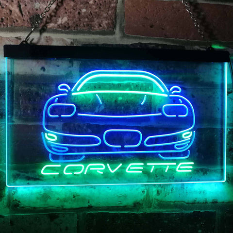 Chevrolet Corvette Neon-Like LED Sign - Dual Color - Green and Blue - SafeSpecial