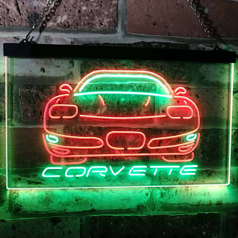 Chevrolet Corvette Neon-Like LED Sign - Dual Color - Green and Red - SafeSpecial