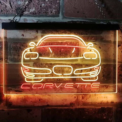 Chevrolet Corvette Neon-Like LED Sign - Dual Color - Red and Yellow - SafeSpecial