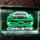 Chevrolet Corvette Neon-Like LED Sign - Dual Color - White and Green - SafeSpecial