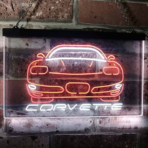 Chevrolet Corvette Neon-Like LED Sign - Dual Color - White and Orange - SafeSpecial