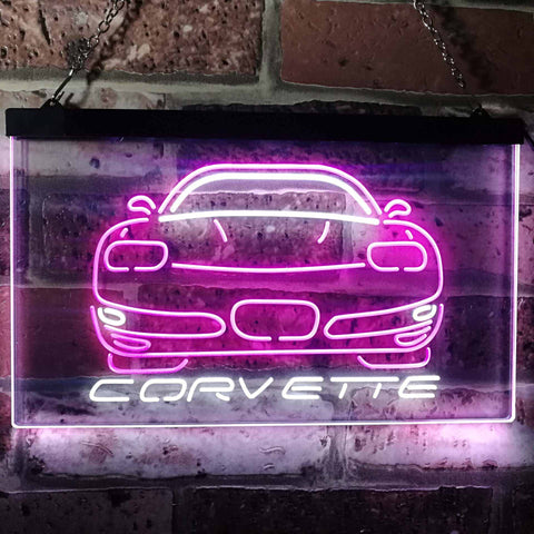 Chevrolet Corvette Neon-Like LED Sign - Dual Color - White and Purple - SafeSpecial