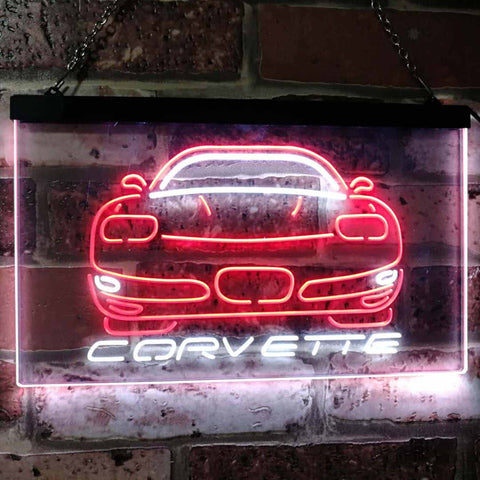 Chevrolet Corvette Neon-Like LED Sign - Dual Color - White and Red - SafeSpecial