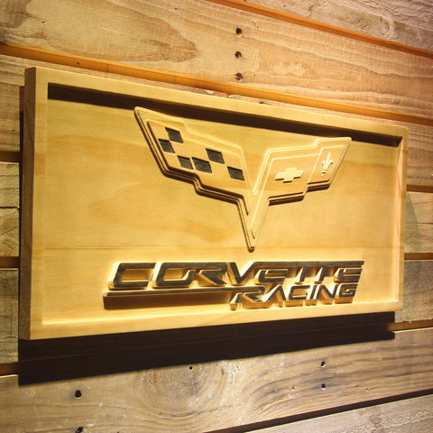 Chevrolet Corvette Racing Wooden Sign - - SafeSpecial