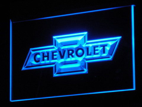 Image of Chevrolet Old Logo LED Neon Sign - Blue - SafeSpecial