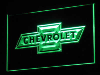 Chevrolet Old Logo LED Neon Sign - Green - SafeSpecial