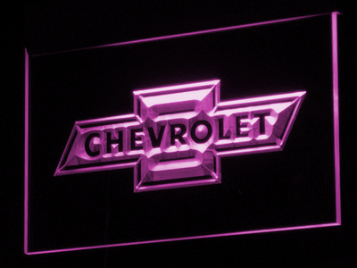 Chevrolet Old Logo LED Neon Sign - Purple - SafeSpecial