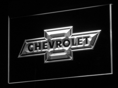 Image of Chevrolet Old Logo LED Neon Sign - White - SafeSpecial