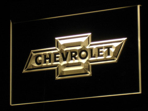 Image of Chevrolet Old Logo LED Neon Sign - Yellow - SafeSpecial