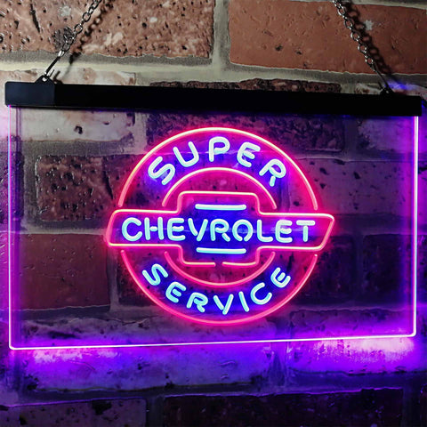 Chevrolet Super Service Neon-Like LED Sign - Dual Color - Blue and Red - SafeSpecial
