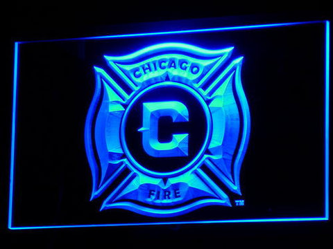 Image of Chicago Fire LED Neon Sign - Blue - SafeSpecial