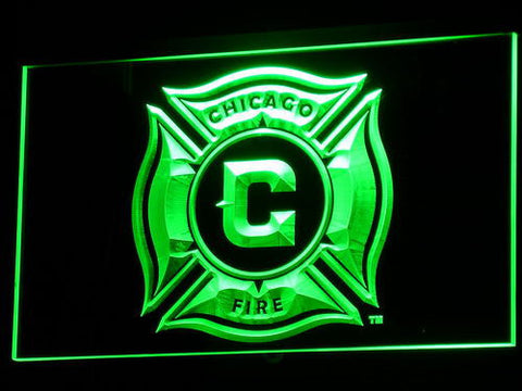Image of Chicago Fire LED Neon Sign - Green - SafeSpecial