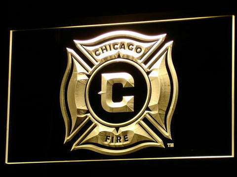 Image of Chicago Fire LED Neon Sign - Yellow - SafeSpecial