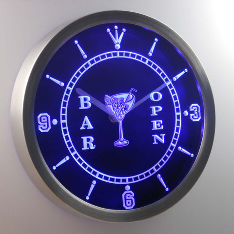 Cocktail Bar Open LED Neon Wall Clock - Blue - SafeSpecial