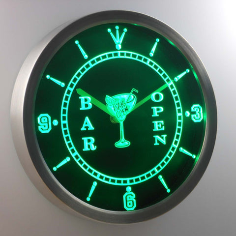 Image of Cocktail Bar Open LED Neon Wall Clock - Green - SafeSpecial