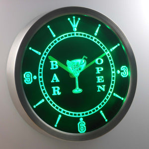 Cocktail Bar Open LED Neon Wall Clock - Green - SafeSpecial